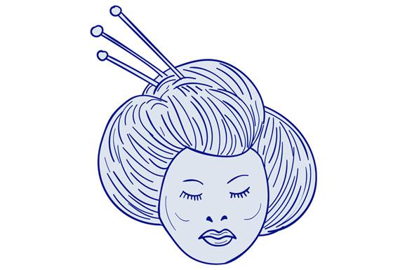 580x386 Geisha Girl Head Drawing