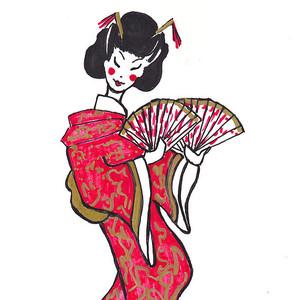 300x300 Geisha With Purple Fan Drawing