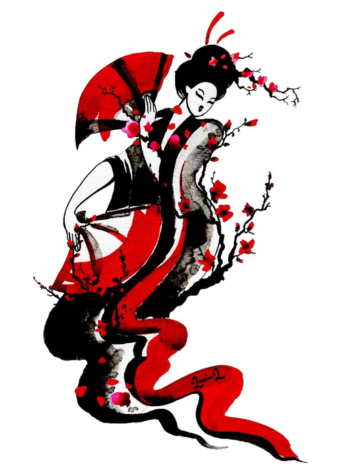 1200x1600 Awesome Geisha Drawing Images