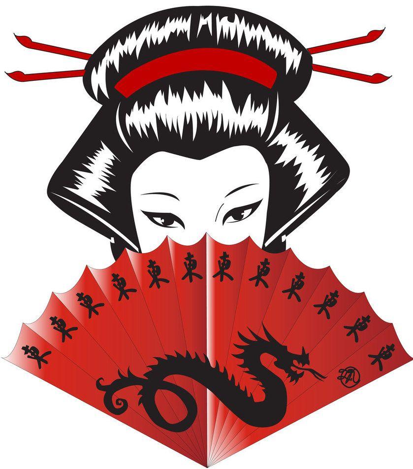 839x952 Japanese Dragon Red Fan Geisha Art