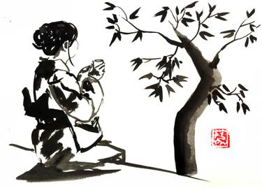 375x269 Geisha And Tree Drawing