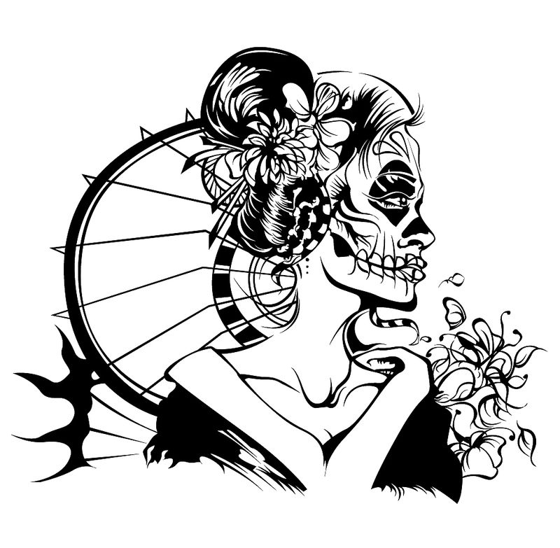 800x783 Geisha Drawing Skeleton For Free Download