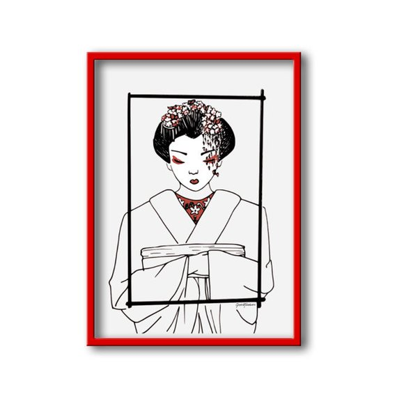570x570 Freehand Drawing Of A Geisha Download The Digital Pdf File Etsy