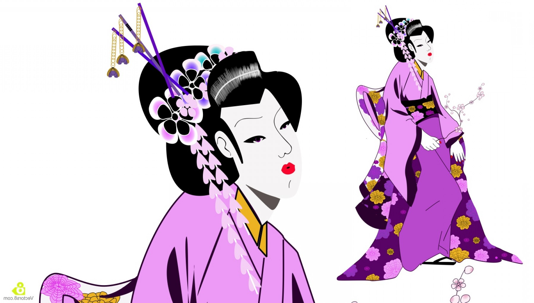 1800x1020 Geisha Girl Vector Soidergi