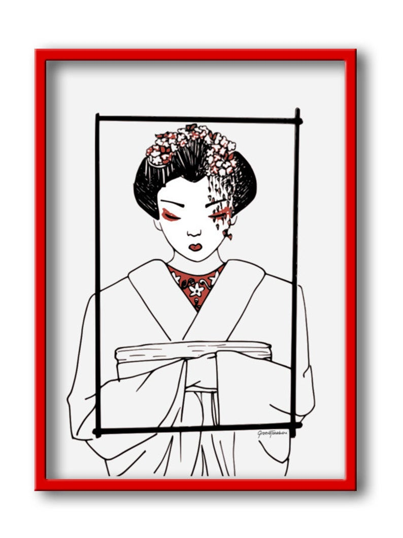 794x1059 Freehand Drawing Of A Geisha Download The Digital Pdf File Etsy