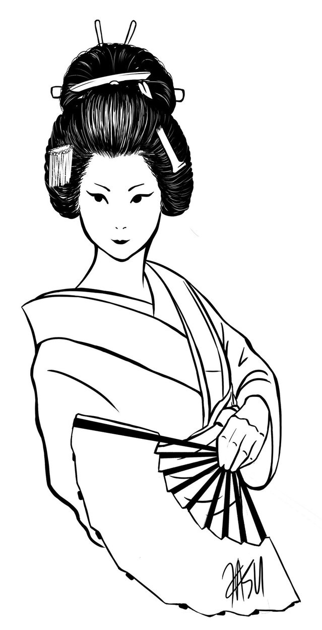 639x1249 Geisha Lineart For Free Download