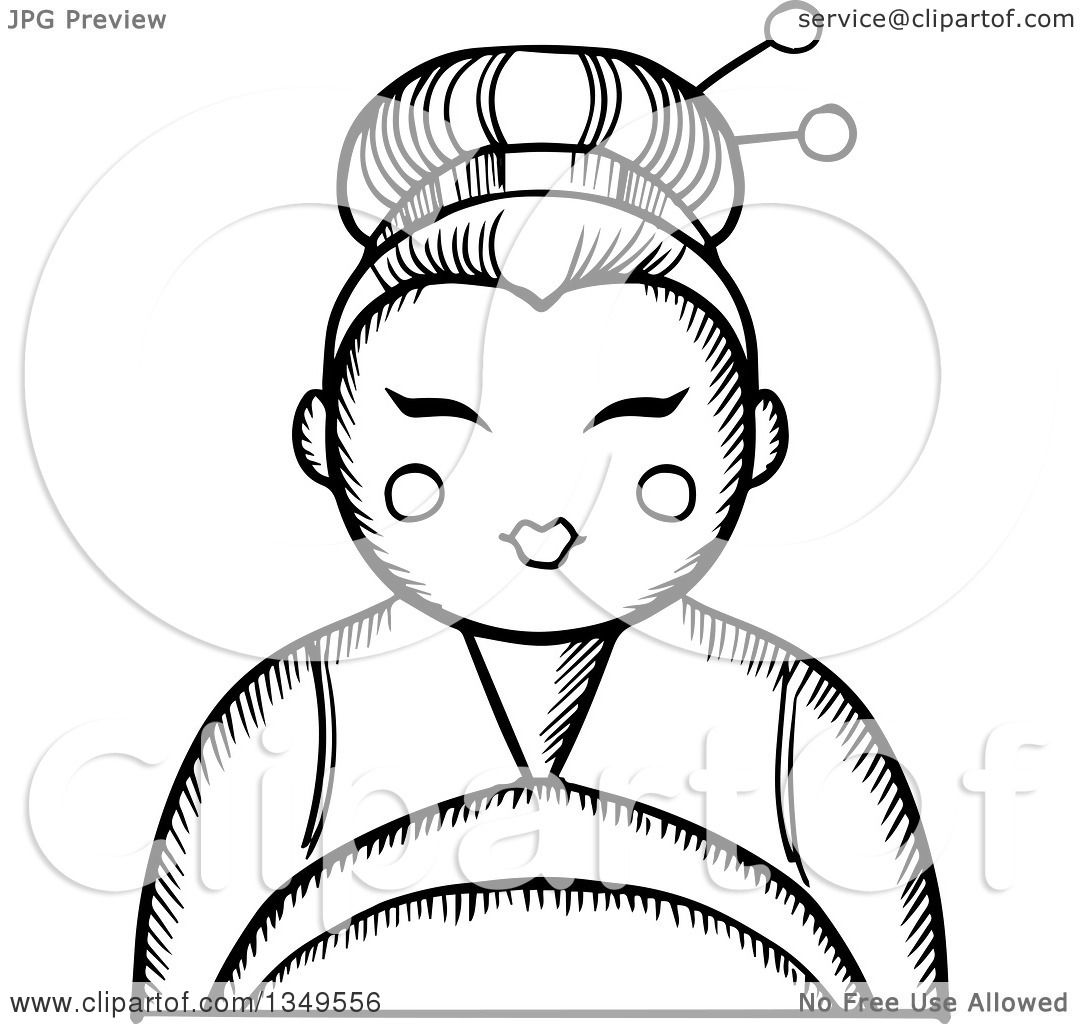 1080x1024 Clipart Of A Black And White Sketched Geisha