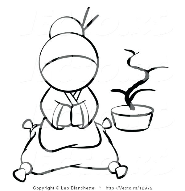 600x620 geisha coloring pages vector of geisha sitting on a pillow