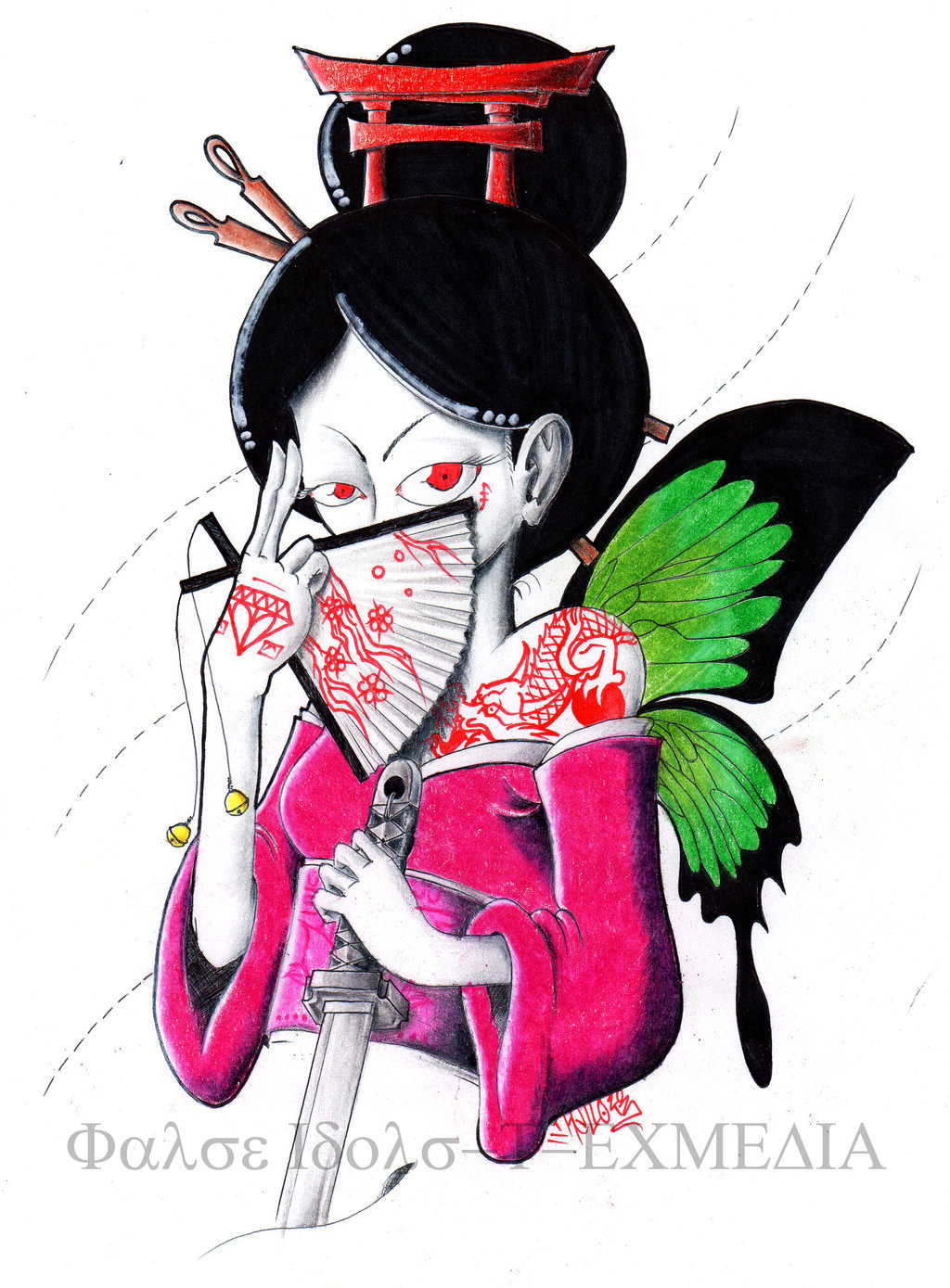 1024x1389 Butterfly Winged Geisha Tattoo Design Tattoo Ideas