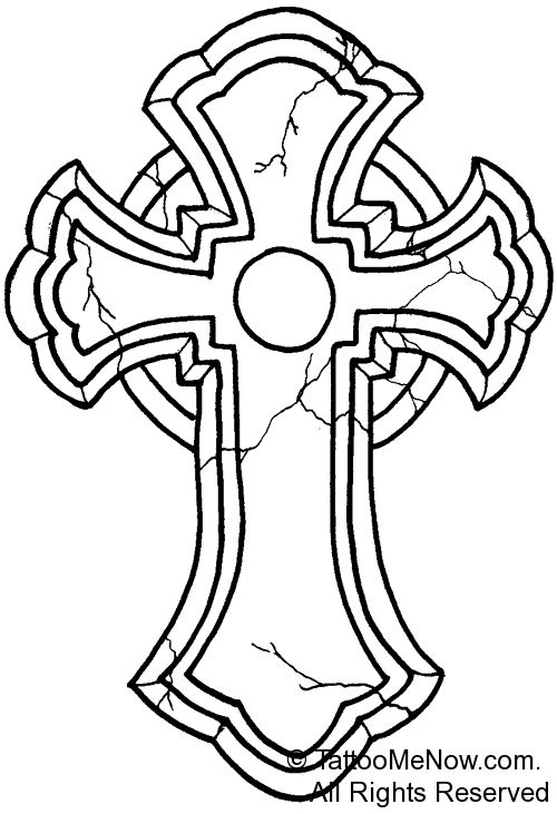 500x731 Cross Outline Tattoo Designs Your Free Tattoo Designs Stencils