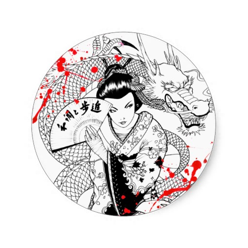 512x512 Dragon And Geisha Tattoos Design