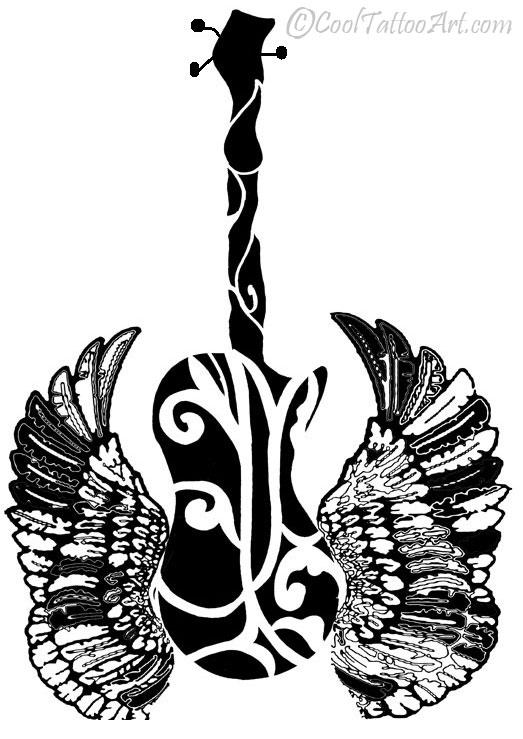 523x739 Free Guitar Tattoos Art Designs Cooltattooarts