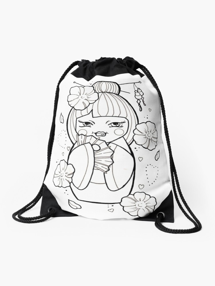 750x1000 Geisha Flash Tattoo Black And White Drawstring Bag