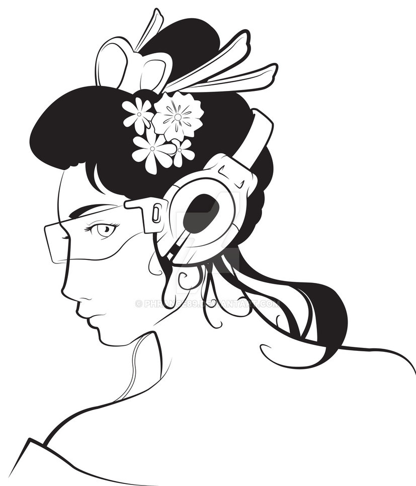 827x967 Geisha Tattoo Design
