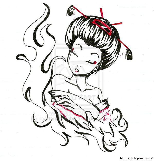 600x625 Gueixa Pin Up Gejsha Geisha Tattoo Design, Geisha, Geisha Art