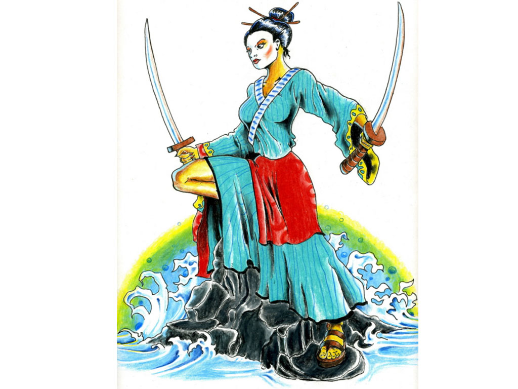 1024x768 Warrior Geisha Tattoo Design