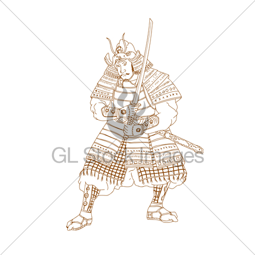 500x500 Bushi Samurai Warrior Drawing Gl Stock Images
