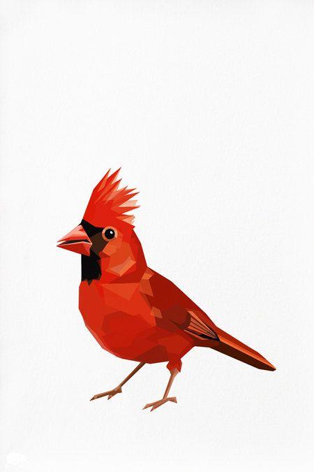 450x675 cardinal, red cardinal, geometric illustration bird print