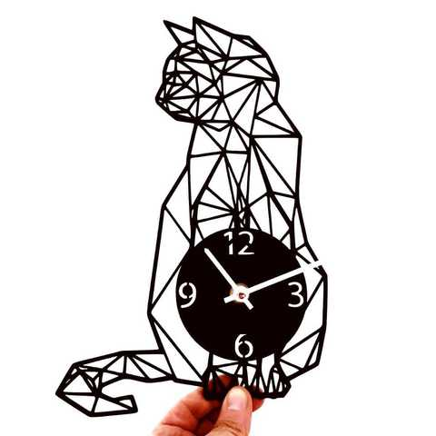 480x480 Printing Model Clock Geometric Cat Cults
