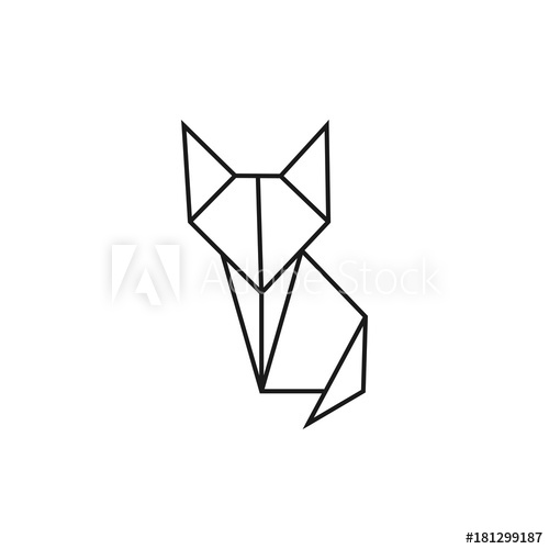 500x500 Origami Cat Geometric Line Shape For Art Of Folded Paper Logo