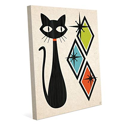 425x425 Retro Cat With Diamonds Green Blue And Orange Mid
