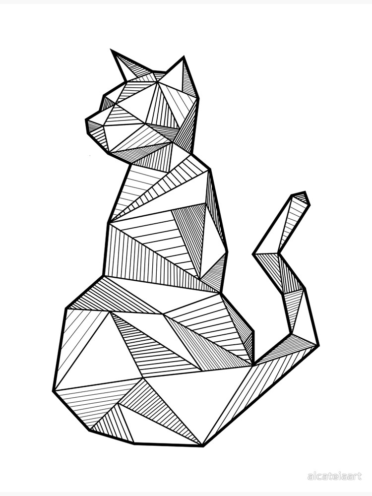 750x1000 Cat Geometric Art Metal Print