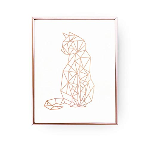 500x500 Cat Print, Geometric Cat, Cat Wall Art, Rose Gold Foil, Cat Geo