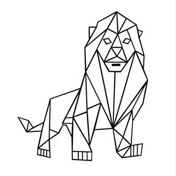 355x355 heshu wall sticker geometric lion wall sticker living room