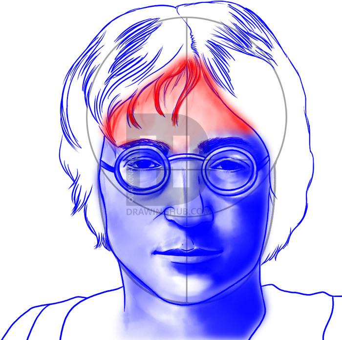 700x696 How To Draw John Lennon, Step