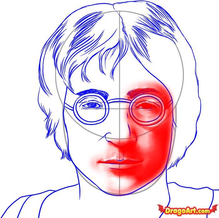 700x696 Draw John Lennon, Step