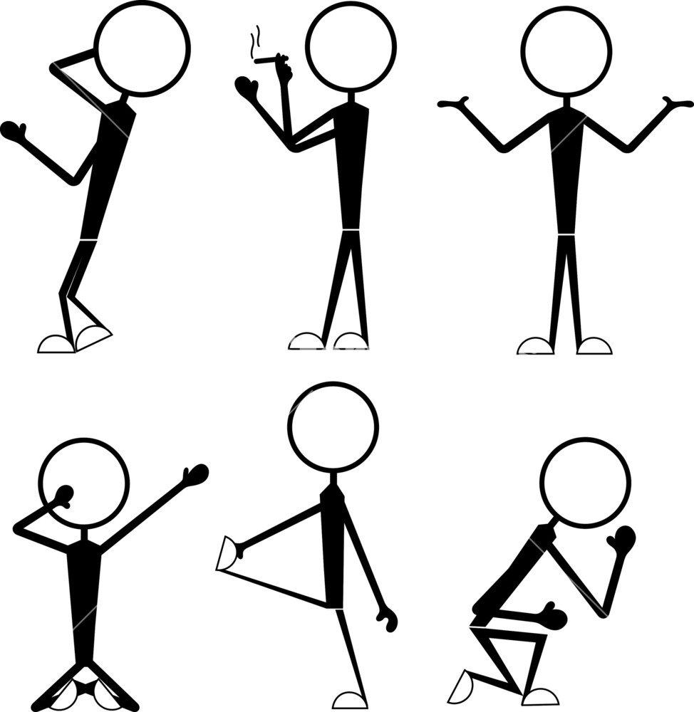 974x1000 Stick Figure Gestures Royalty Free Stock Image