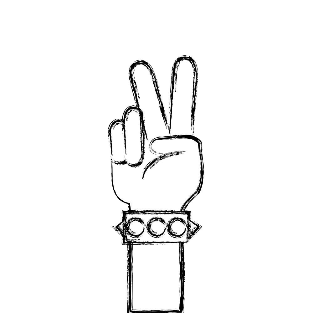 1000x1000 Figure Hand With Bracelet And Peace And Love Gesture Vector