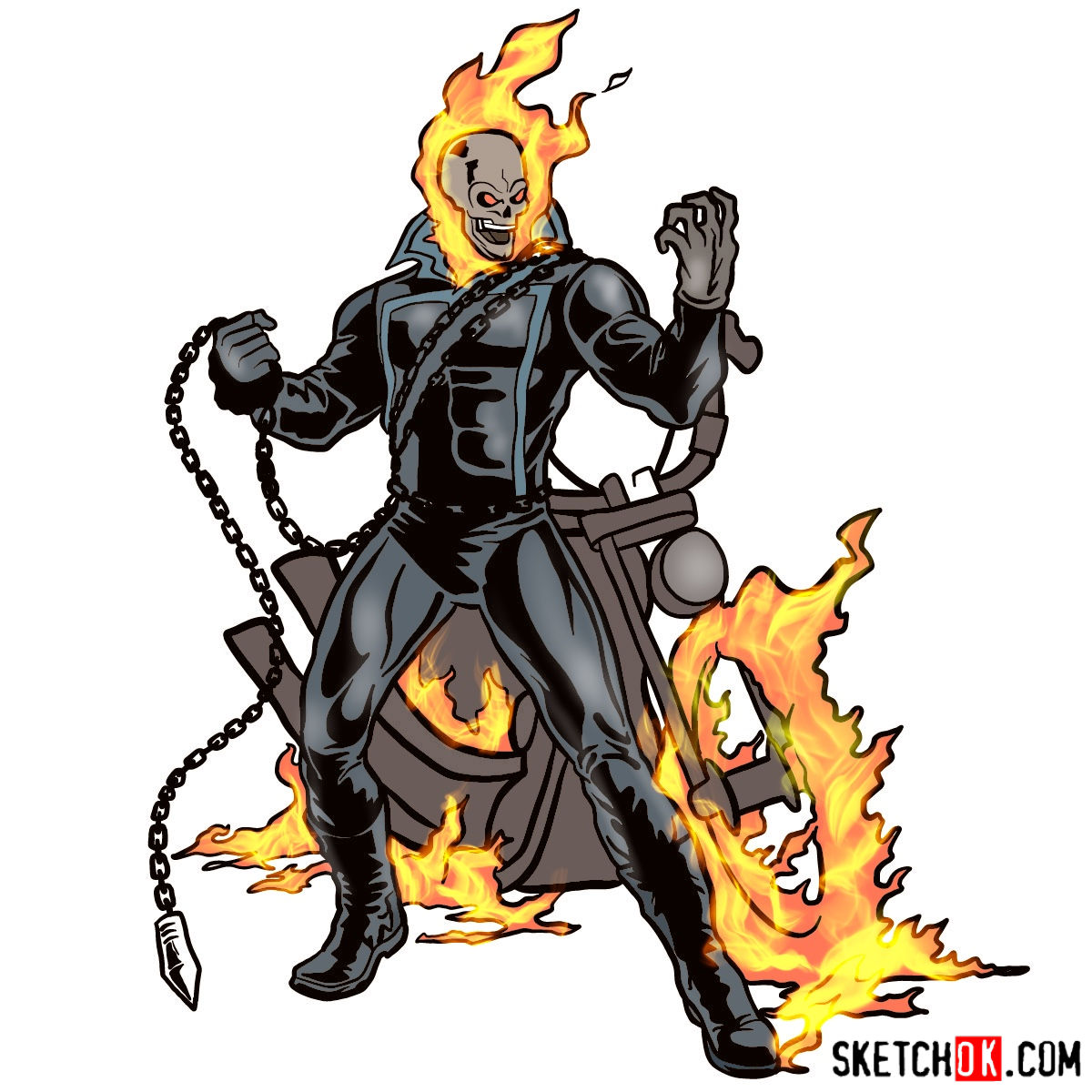 1200x1200 How To Draw Ghost Rider With His Flaming Bike