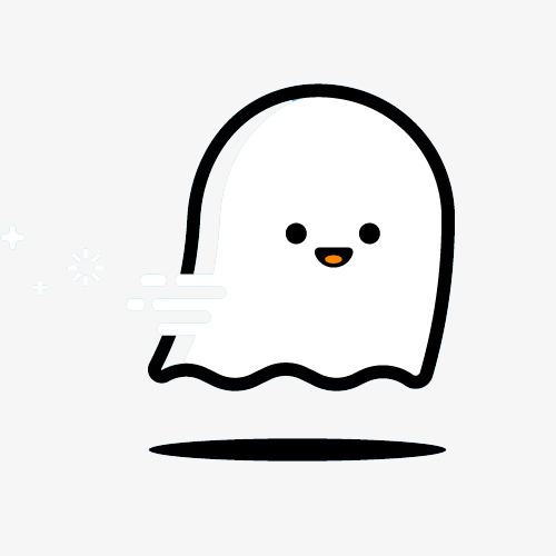 500x500 cute ghost lines, lovely, simple, black lines png clipart image