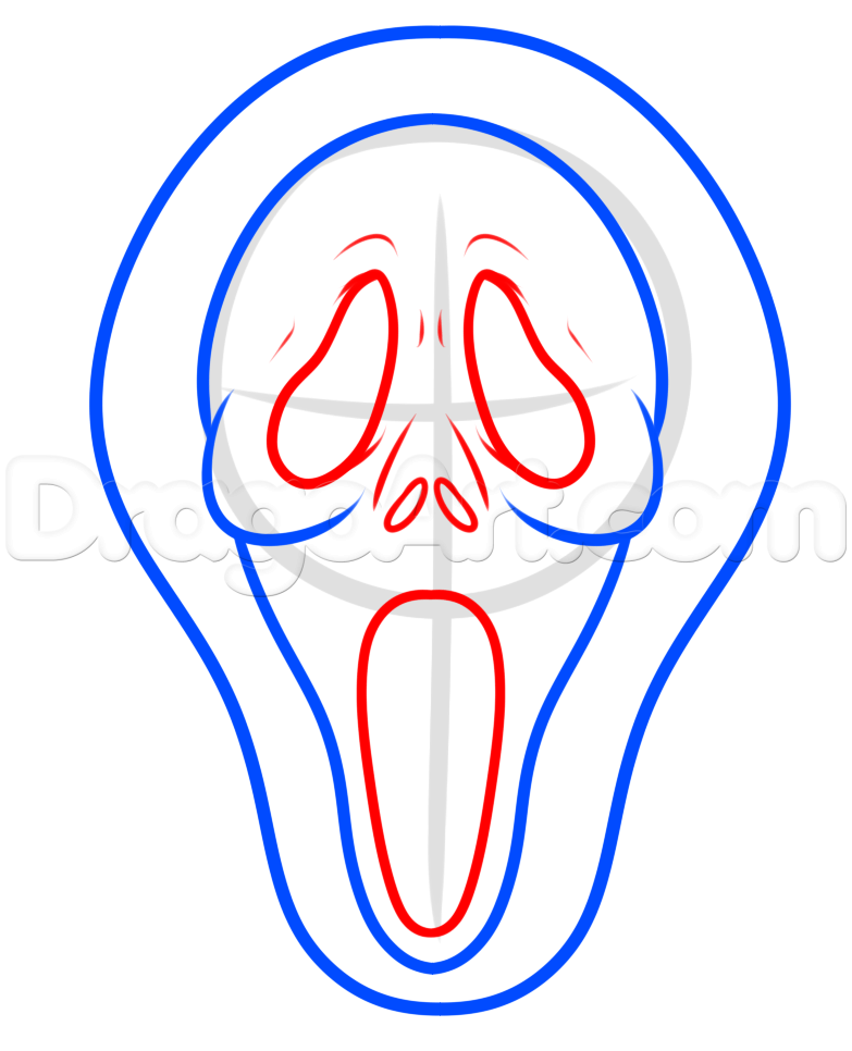 783x966 Drawing The Scream Mask Easy, Step