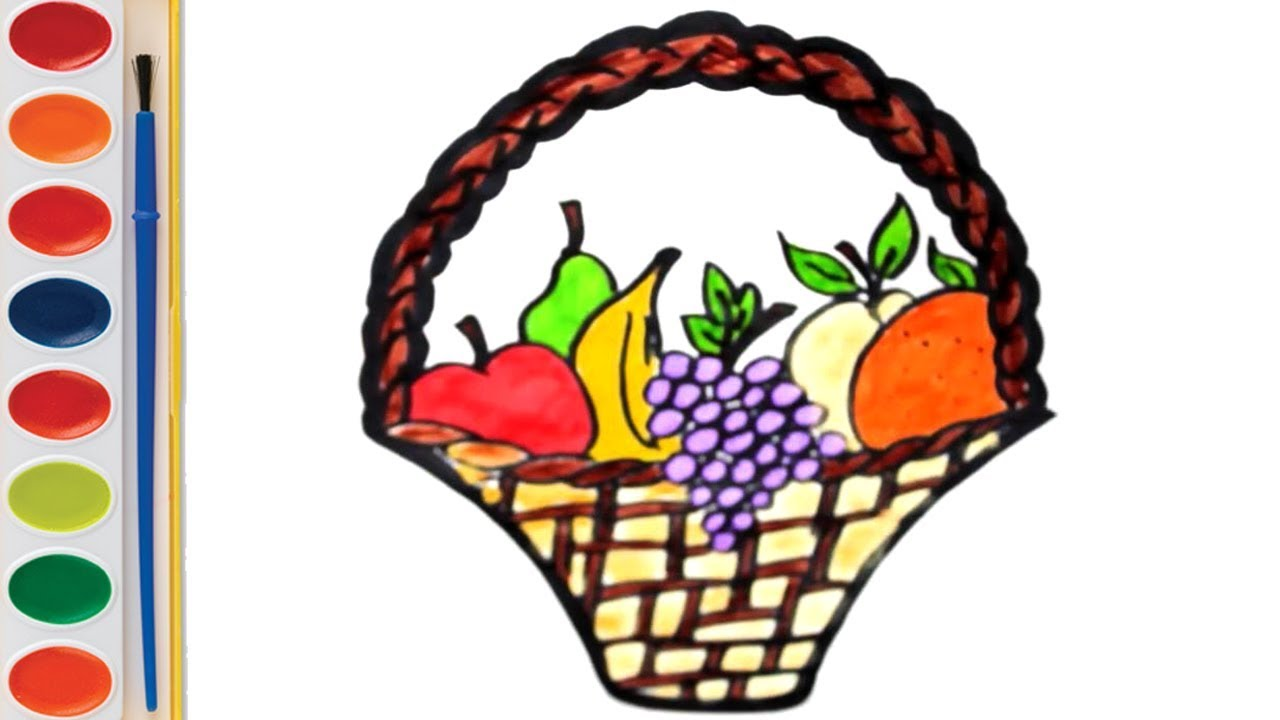 1280x720 Learn Colors For Children Fruit Basket Coloring And Drawing