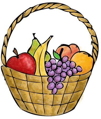 385x450 Fruit Basket Clipart Fruit Baskets Drawing