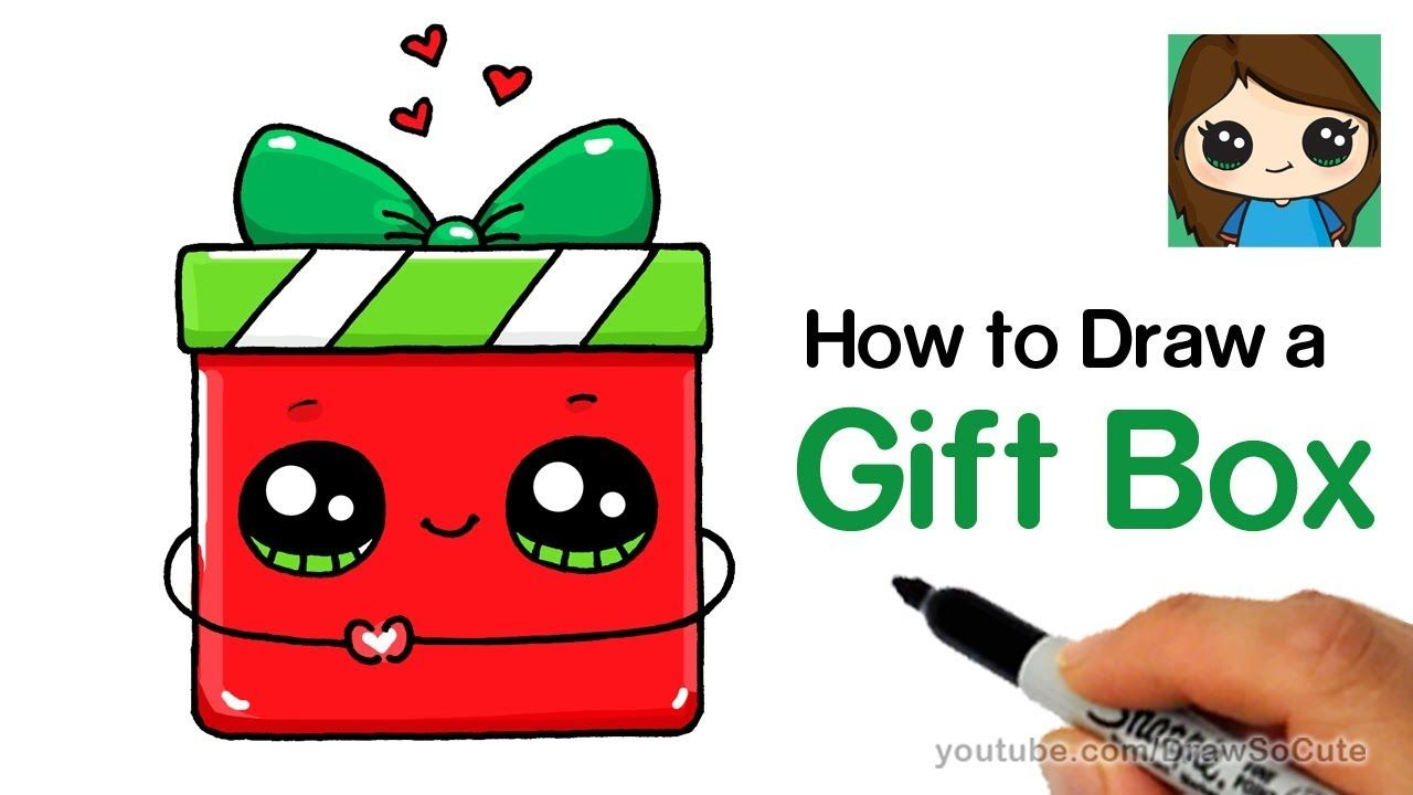 1280x720 How To Draw A Gift Box Present Easy Christmas Holiday
