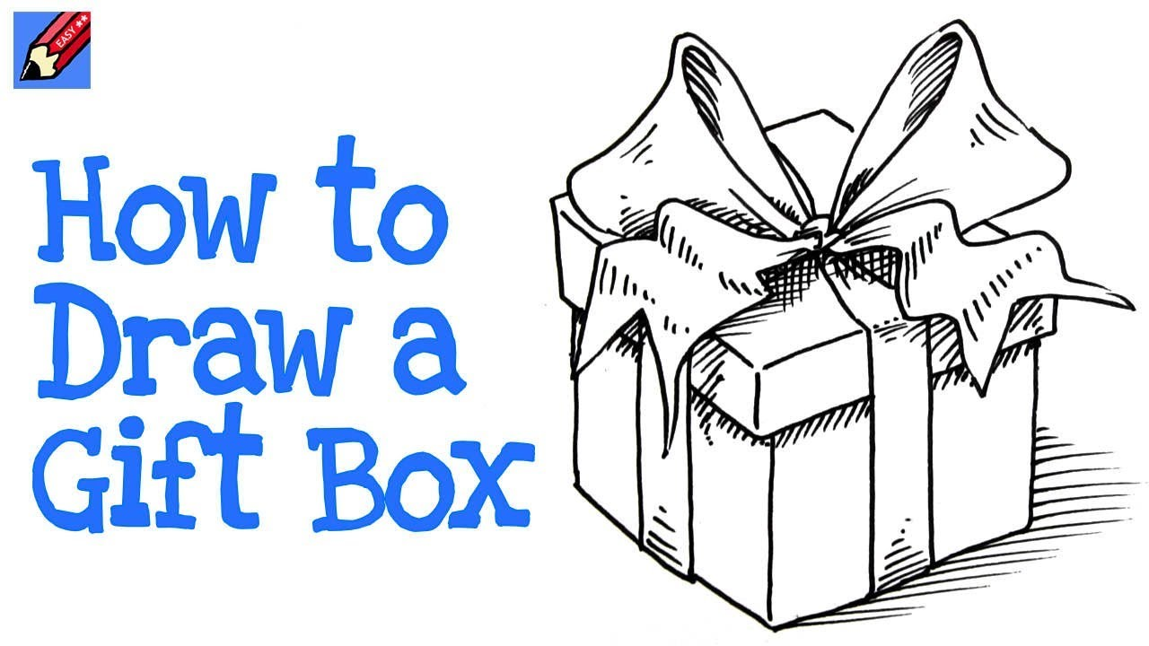 1280x720 How To Draw A Gift Box Real Easy Step