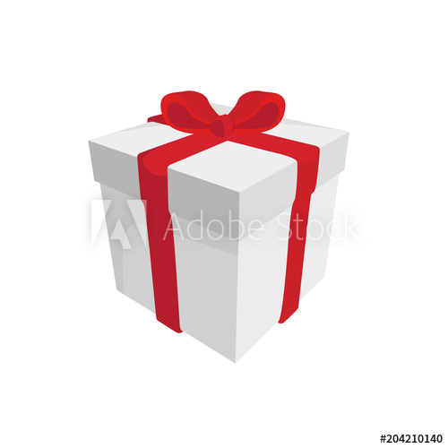 500x500 Raster Drawing Of A White Gift Box With A Red Ribbon