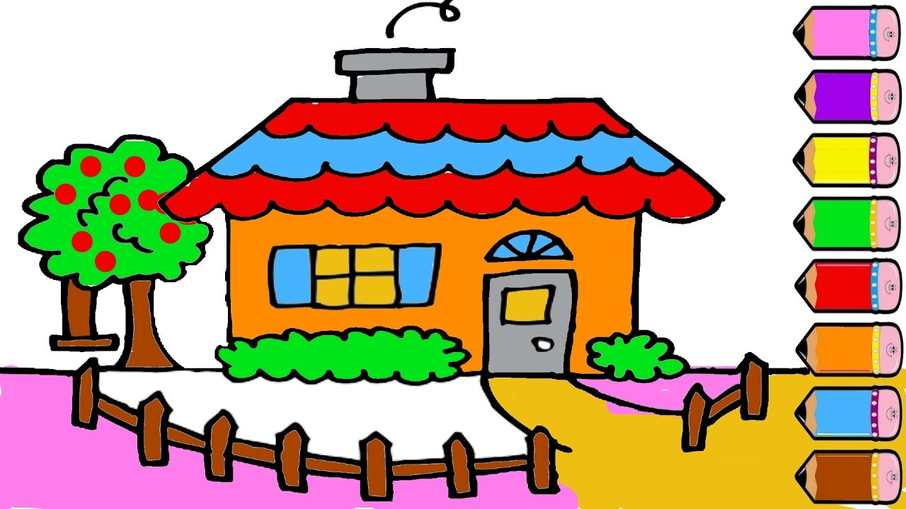 1280x720 Coloring Pages House Drawing And Colouring For Coloring Pages