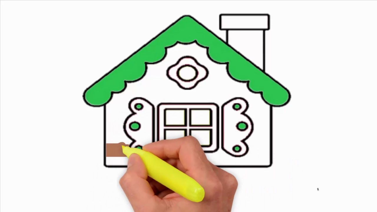 1280x720 Coloring Pages How To Draw A Gingerbread House Step