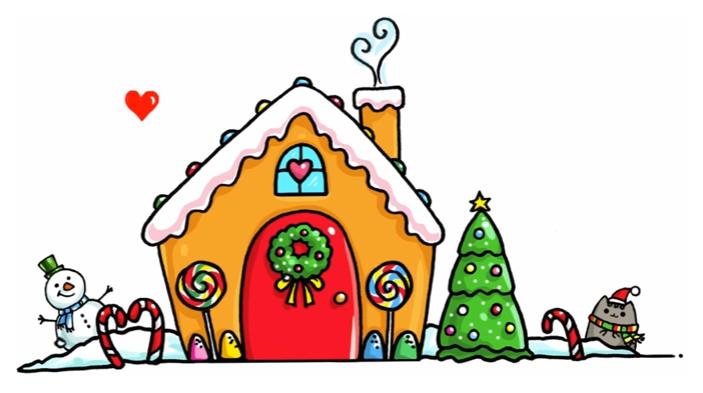 703x393 Gingerbread House Artdrawings In Kawaii Drawings, Cute