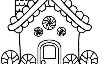 420x270 Gingerbread House Coloring Pages Holiday Coloring Pages Easy House
