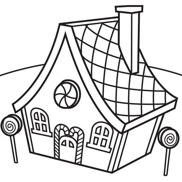 600x600 Gingerbread House And Lollipop Coloring