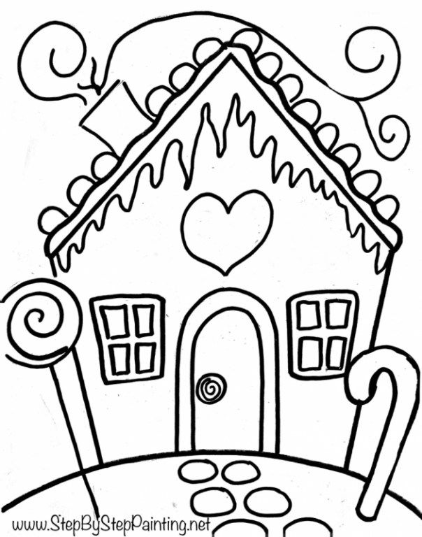 604x768 How To Paint A Gingerbread House Drawings Step