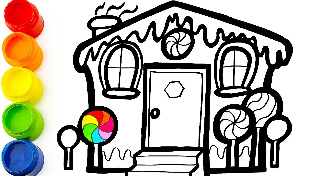 1280x720 How To Draw A Gingerbread House Drawing And Coloring Learn