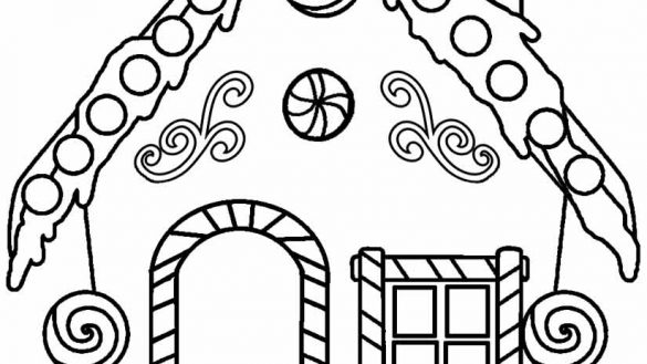 585x329 Stylist And Luxury Gingerbread House To Color Coloring