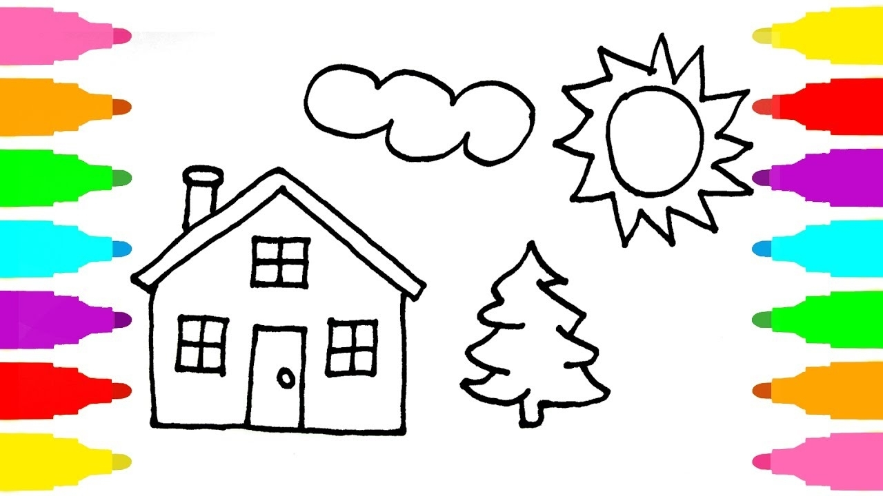 1280x720 Coloring House How To Draw House Coloring Pages