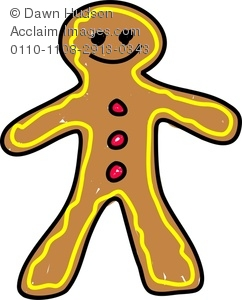 242x300 Clipart Image Of A Whimsical Drawing Of A Gingerbread Man